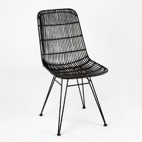 Anabel Dining Chair - Black Wicker/Metal