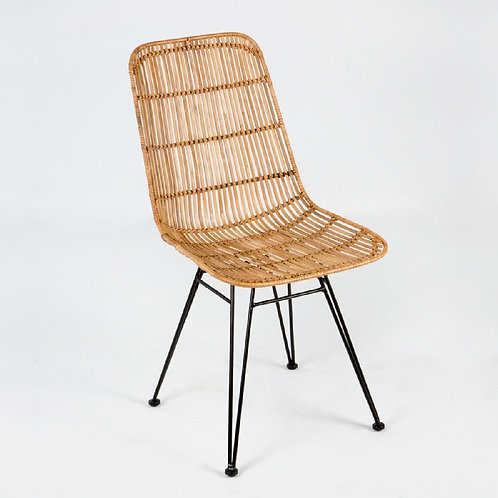 Anabel Dining Chair - Natural Wicker/Black Metal