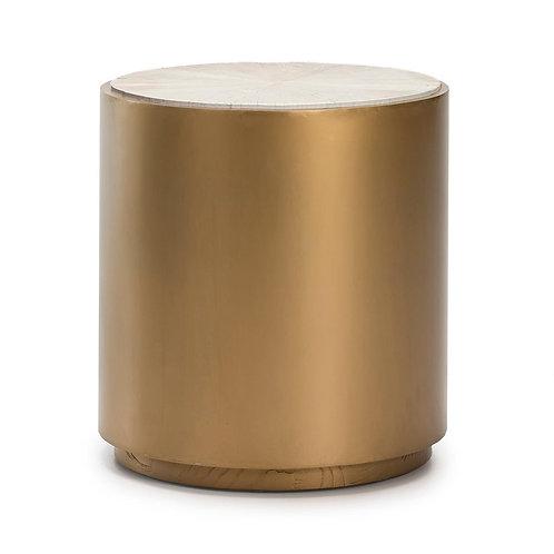 Charlotte Side Table - White Wood/Golden Metal
