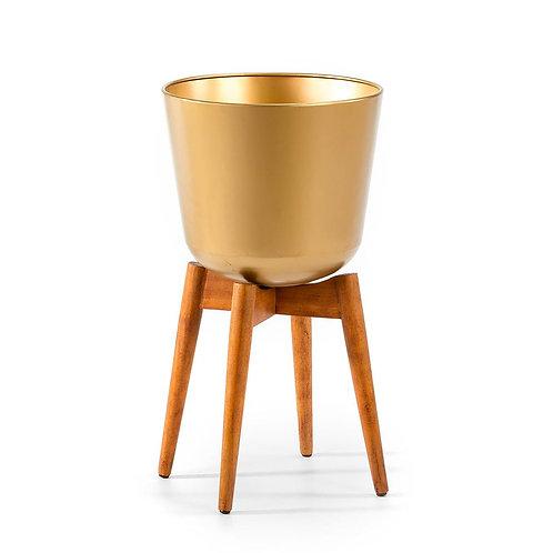 Hudson Planter 38x38x70 - Natural Wood/Golden Metal