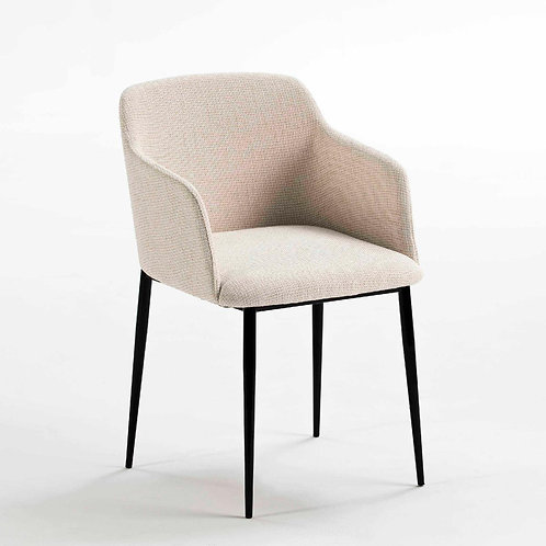 Rochelle Dining Chair - White Fabric/Black Metal