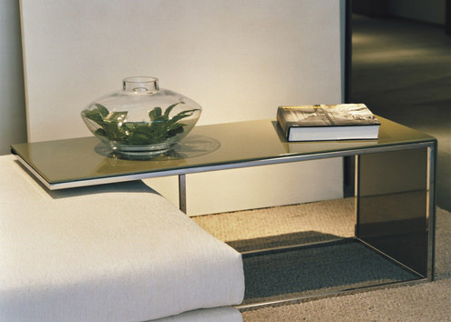 Custom side table in laquer, glass and metal