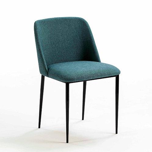 Jane Dining Chair - Teal Blue Fabric/Black Metal