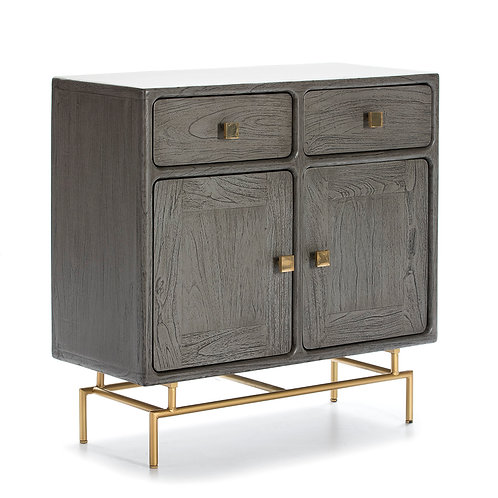 Harper Sideboard - Grey Wood/Golden Metal