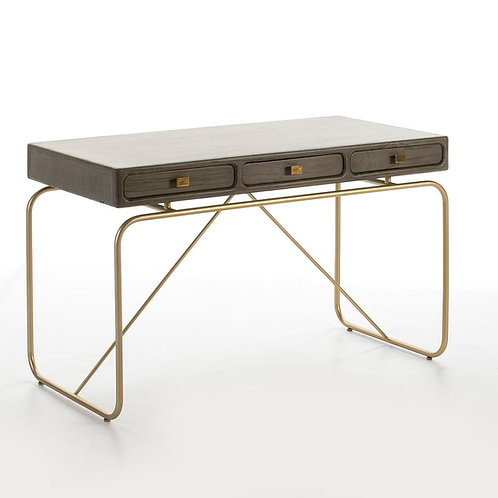 Harper Desk - Grey Wood/Golden Metal