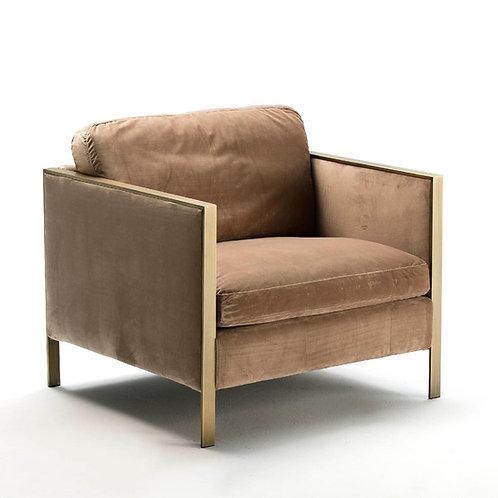 Melrose Armchair - Brown Fabric/Bronze Metal