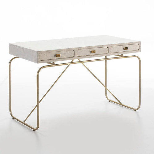 Harper Desk - White Wood/Golden Metal