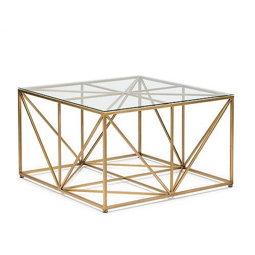 Cora Coffee Table - Glass/Golden Metal
