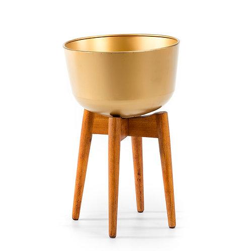 Hudson Planter 34x34x54 - Natural Wood/Golden Metal