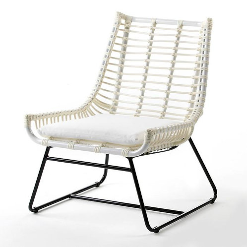 Corrine Outdoor Chair - White Synthetic Wicker/Metal