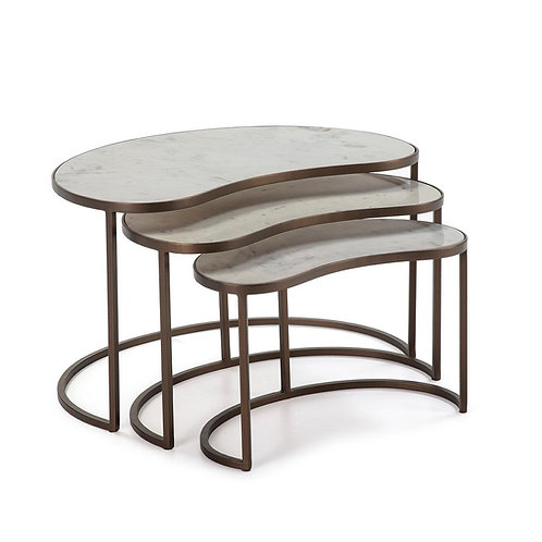 Georgia Side Tables (Set of 3) - White Marble/Golden Metal
