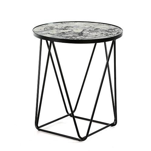 Jefferey Side Table - Aged Mirror/Black Metal