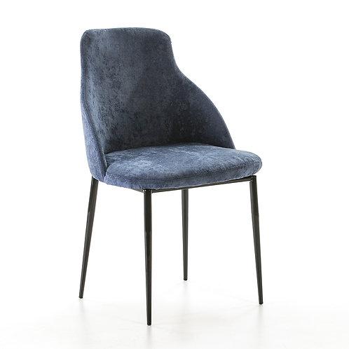 Mignon Dining Chair - Blue Fabric/Black Metal