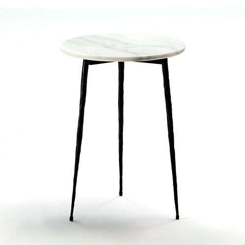 Addison Side Table - White Marble/Black Metal