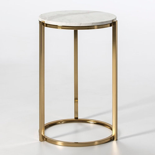 Troy Side Table - White Marble/Golden Metal