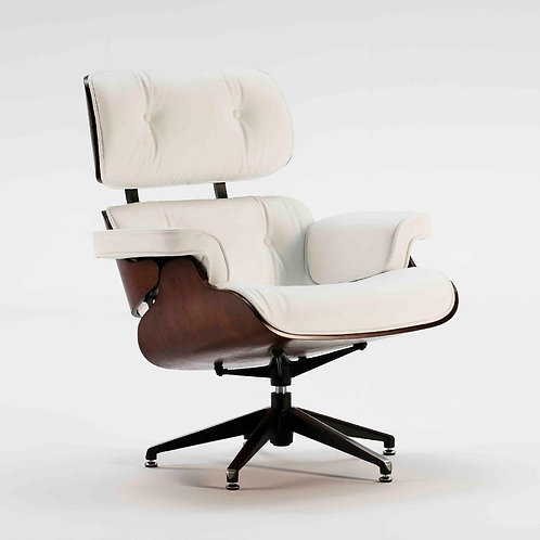 Montclair Armchair & Footrest - White Leather/Brown Wood