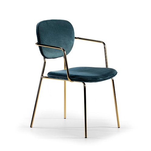 Bel Air Dining Chair w/ arms - Blue Fabric/Golden Metal