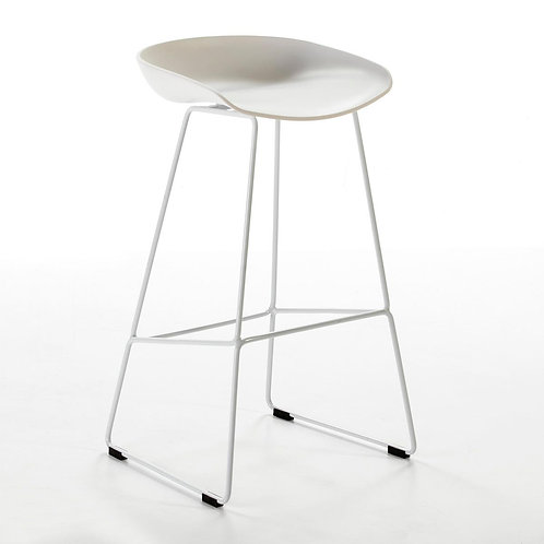 June Barstool - White Polyurethane/Metal