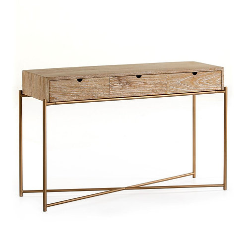Parker Console - White Washed Wood/Golden Metal