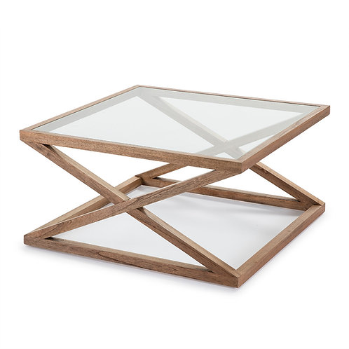 Equis Coffee Table/Sq - Natural Veiled Wood/Glass