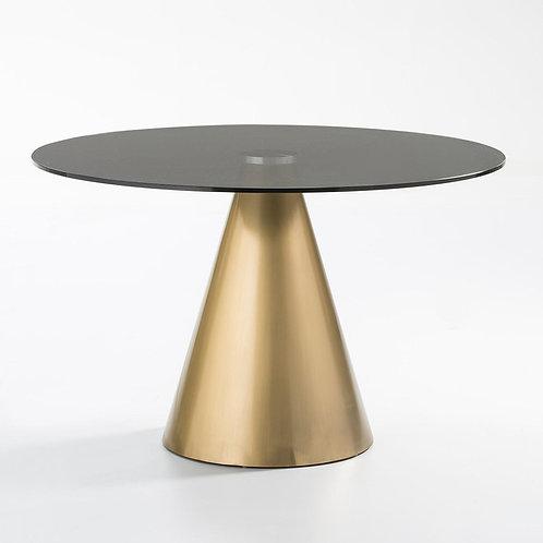 Naomi Dining Table - Grey Glass/Golden Metal