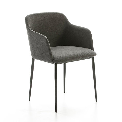 Rochelle Dining Chair - Dk. Grey Fabric/Black Metal