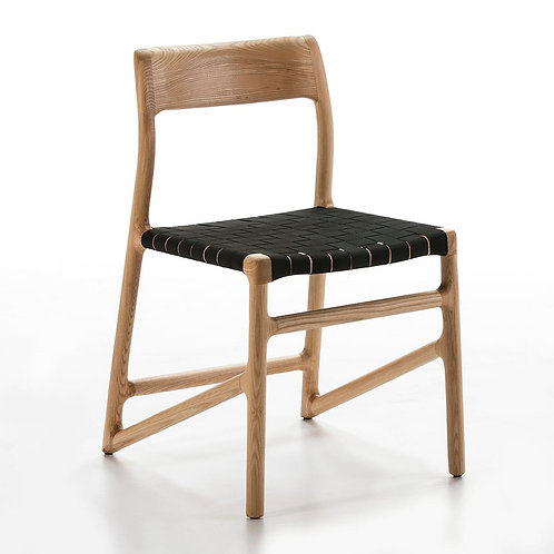 Marnie Dining Chair - Black Fabric/Natural Wood