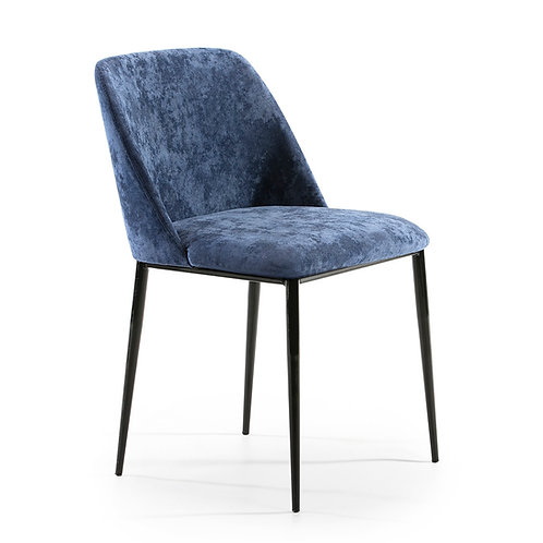 Jane Dining Chair - Blue Fabric/Black Metal