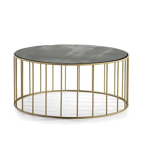 Pauline Coffee Table - Aged Mirror/Golden Metal