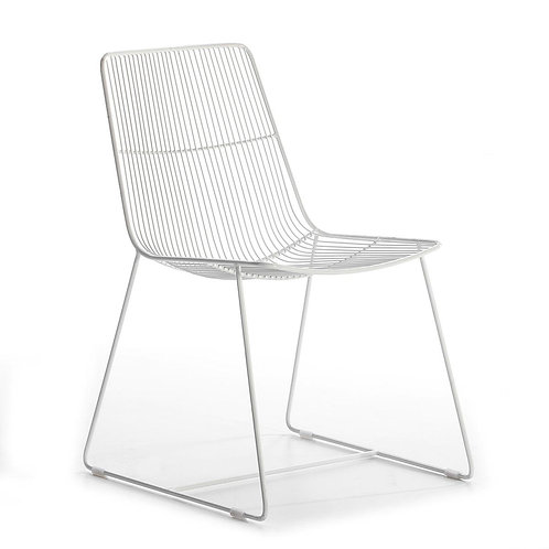 Megan Dining Chair - White Metal