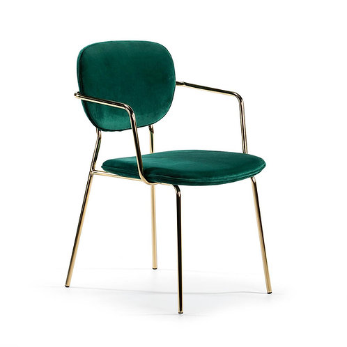 Bel Air Dining Chair w/ arms - Green Fabric/Golden Metal