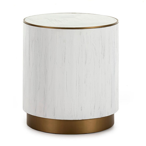 Sophia Side Table - White Wood/Golden Metal