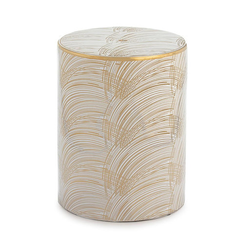 Dylan Side Table/Stool - White/Golden Ceramic