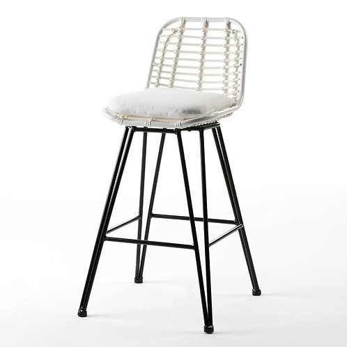 Phoebe Outdoor Barstool - White Synthetic Wicker/Metal