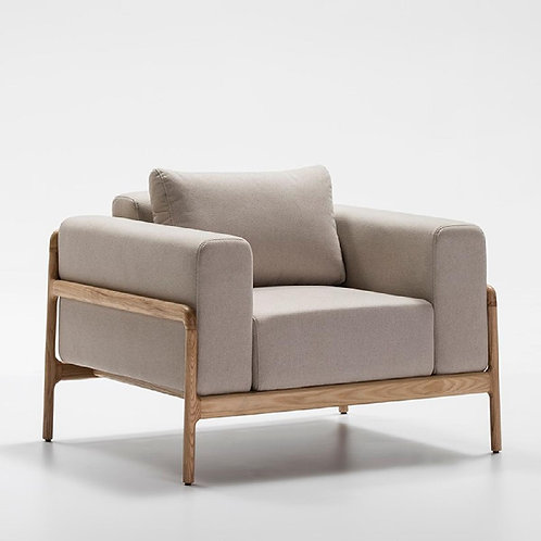 Nathan Armchair - Beige Fabric/Ash Wood
