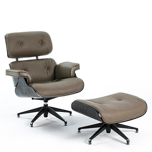 Montclair Armchair & Footrest - Dark Taupe Leather/Black Wood