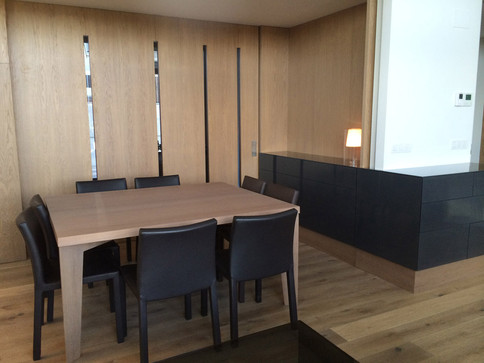 Made to size dining table for 8 and matching wrap-around buffet