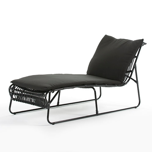 Denise Outdoor Lounger - Black Synthetic Wicker/Metal