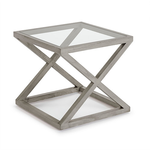 Equis Side Table - Grey Veiled Wood/Glass