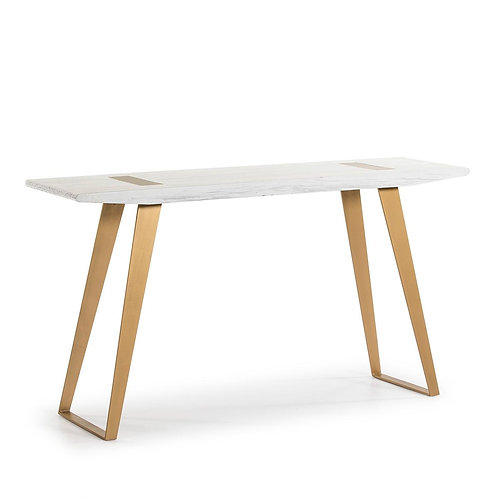 Prague Console - White Wood/Golden Metal
