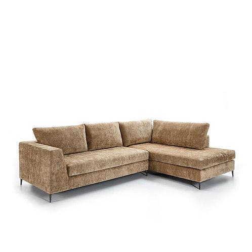 Orleans Sofa w/ Chaise - Brown Fabric