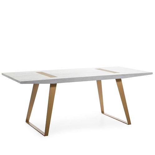 Prague Dining Table - White Wood/Golden Metal