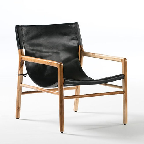 Macon Armchair - Black Leather/Natural Wood