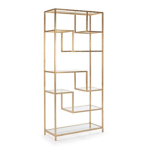 Elizabeth Bookshelf - Glass/Golden Metal