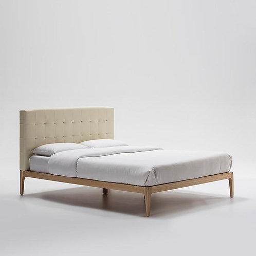 Stephanie Bed/Double - Beige Leather/Natural Wood
