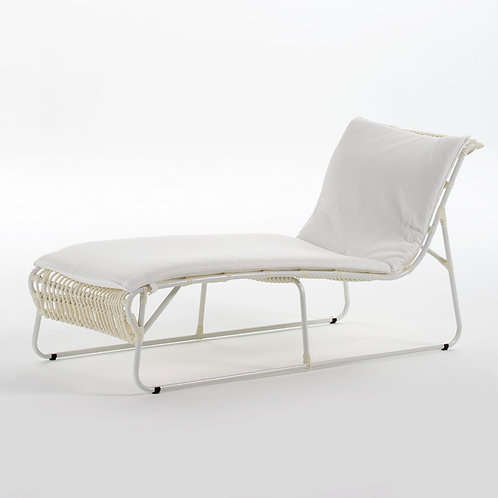 Denise Outdoor Lounger - White Synthetic Wicker/Metal