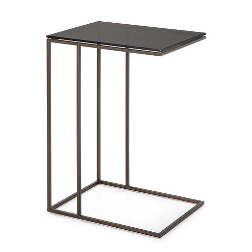 Dinah Side Table - Smoked Glass/Bronze Metal