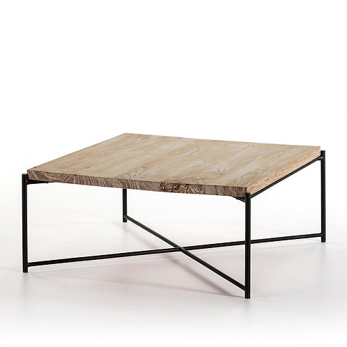 Parker Coffee Table - White Washed Wood/Black Metal