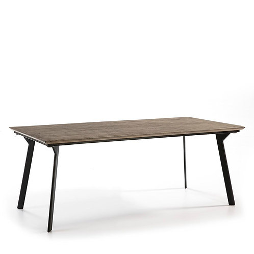 Lossett Dining Table - Grey Wood/Black Metal