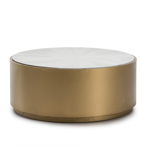 Charlotte Coffee Table - Golden Metal/White Wood
